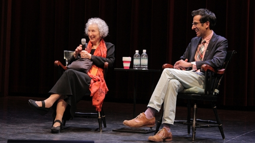 Margaret Atwood and Sonu Bedi sit onstage