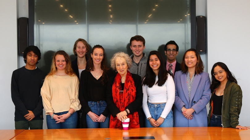 Margaret Atwood with Ethics Institute Law and Ethics Fellows